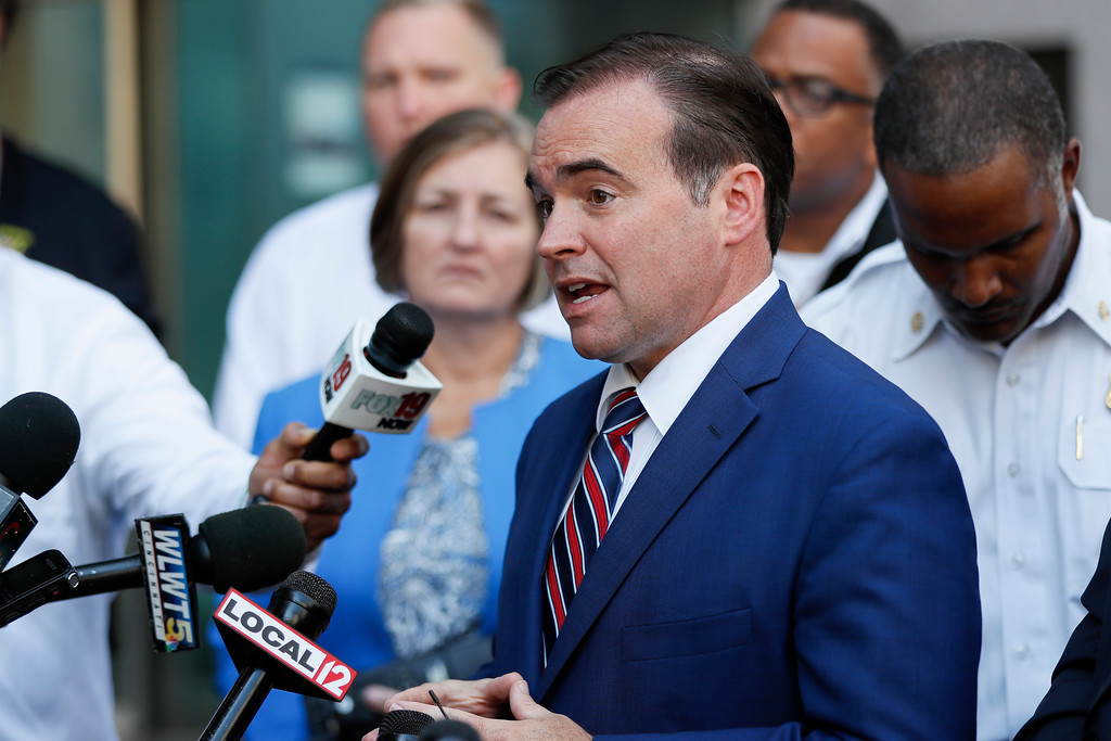 . Cincinnati Mayor John Cranley speaks to the media as emergency personnel and police work the scene of shooting near Fountain Square, Thursday, Sept. 6, 2018, in downtown Cincinnati. (AP Photo/John Minchillo)