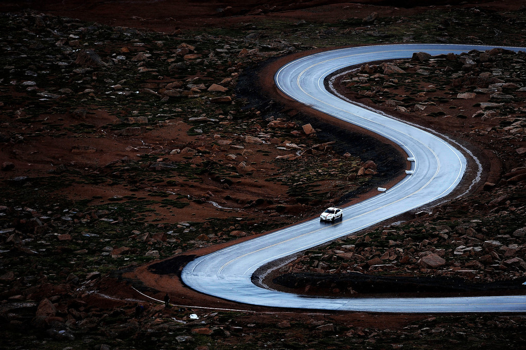 . Time Attack racer Brian Shanfeld navigates the curves after the Bottomless Pit during the 91st running of the Pikes Peak International Hill Climb Sunday, June 30, 2013. (Michael Ciaglo, The Gazette)
