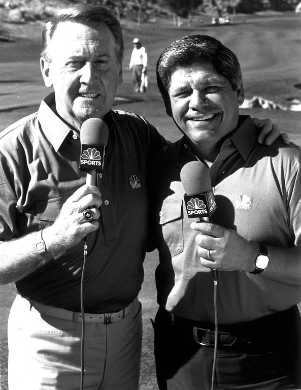 . Vin Scully, left, and Lee Trevino in 1988.   (L.A. Daily News file photo)
