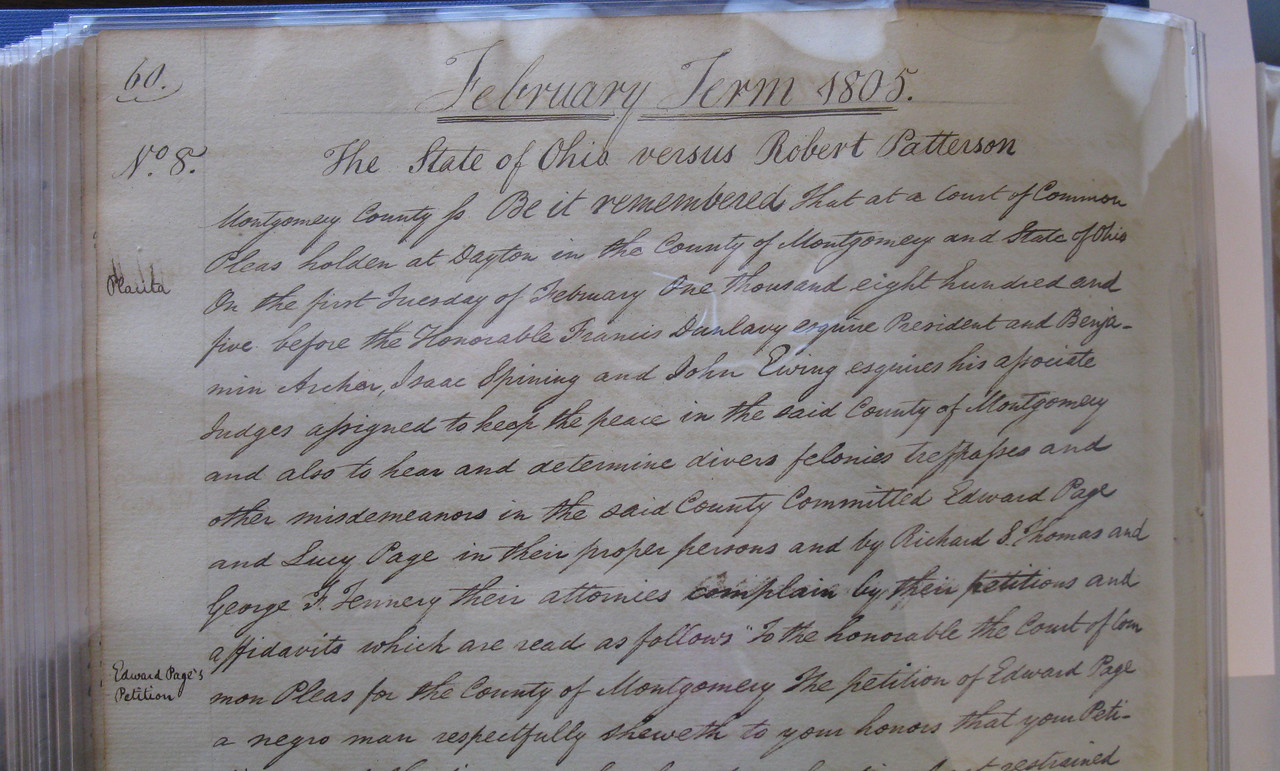 Robert Patterson slave case, 1805, Montgomery County (Ohio), Clerk of Courts, Book A1 Vol 2 page 60