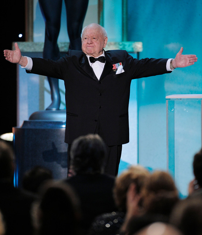 . In this Sunday, Jan. 27, 2008, file photo, Mickey Rooney takes the stage to make an award presentation at the 14th Annual Screen Actors Guild Awards, in Los Angeles. (AP Photo/Mark J. Terrill, File)