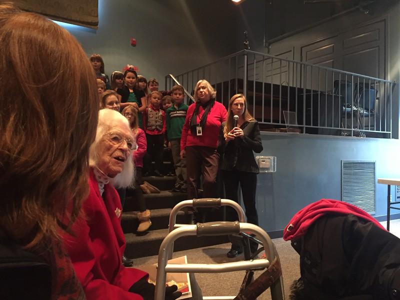 Long Grove Community Church youth choir singing happy birthday to Char.