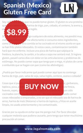 mexico gluten free restaurant card