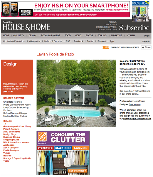 Feature article in Canadian House and Home magazine.