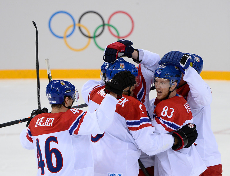 . Czech Republic\'s Ales Hemsky (2nd-R) celebrates witth teammates after scoring a goal during the Men\'s Ice Hockey Play-offs Czech Republic vs Slovakia at the Shayba Arena during the Sochi Winter Olympics on February 18, 2014. (JONATHAN NACKSTRAND/AFP/Getty Images)
