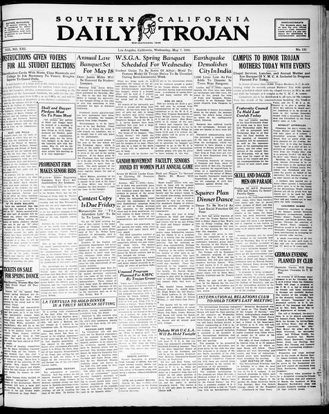 Southern California Daily Trojan, Vol. 21, No. 133, May 07, 1930