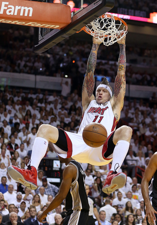 . Chris Andersen #11 of the Miami Heat dunks the ball in the first quarter against the San Antonio Spurs during Game Two of the 2013 NBA Finals at AmericanAirlines Arena on June 9, 2013 in Miami, Florida.   (Photo by Christian Petersen/Getty Images)