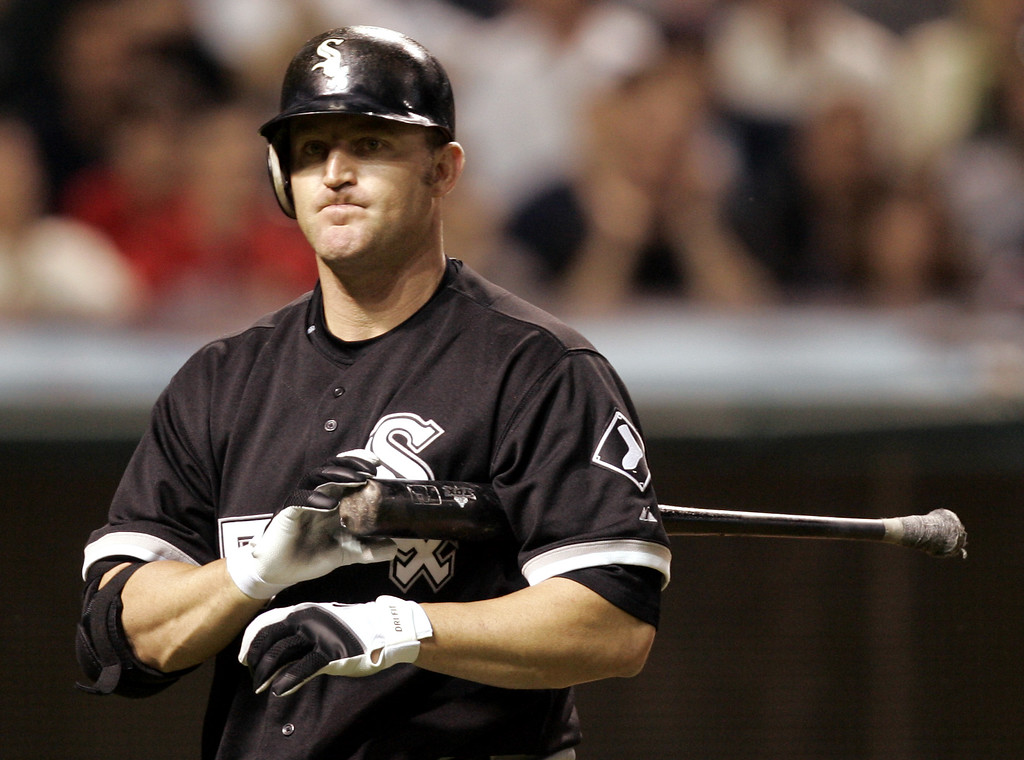 . Chicago White Sox\'s Jim Thome walks back to the dugout after striking out against Cleveland Indians pitcher Jeremy Guthrie in the seventh inning in baseball action, Monday, May 1, 2006, in Cleveland. (AP Photo/Tony Dejak)
