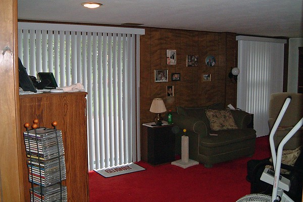 July 30, 2004:  New vertical blinds for the basement .  .  .