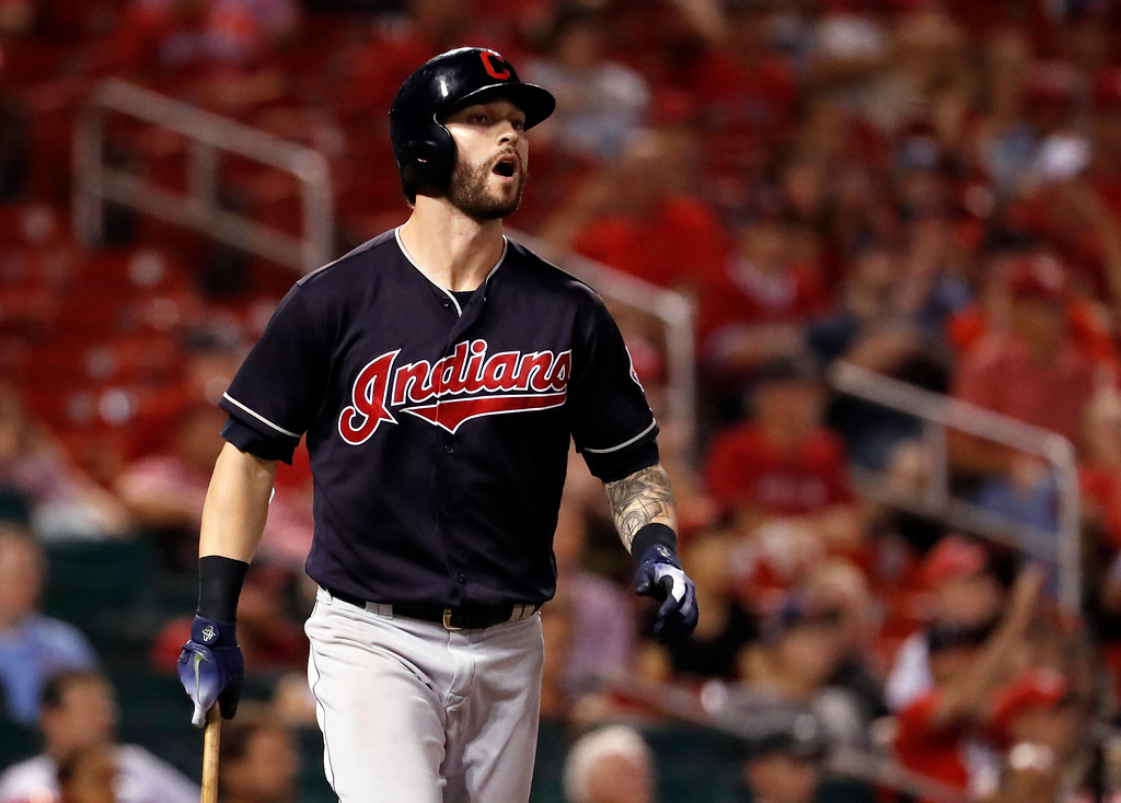 . Cleveland Indians\' Tyler Naquin reacts after lining into a double play to end a baseball game against the St. Louis Cardinals, Monday, June 25, 2018, in St. Louis. The Cardinals won 4-0. (AP Photo/Jeff Roberson)