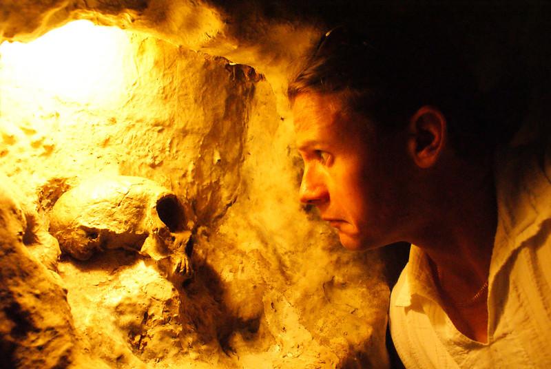 Gibraltar cave tour.  That's a human skull.