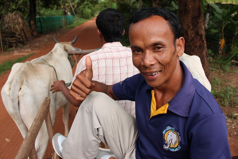 One of Smiling Albino's best tuk-tuk drivers, Sophoan, approves of the ox cart ride