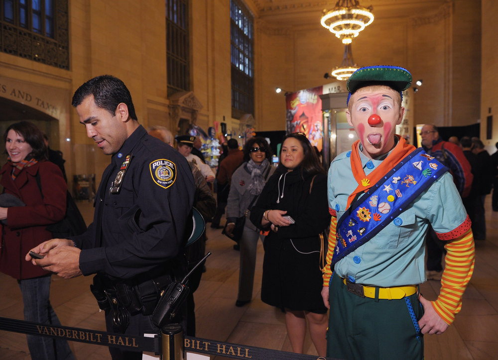 . A clown participates in Ringling Bros. and Barnum & Bailey\'s sneak peak of their new national touring show DRAGONS today at Grand Central Terminal for Children of All Ages at Grand Central Station on February 28, 2012 in New York City.  (Photo by Michael Loccisano/Getty Images for FELD Entertainment)