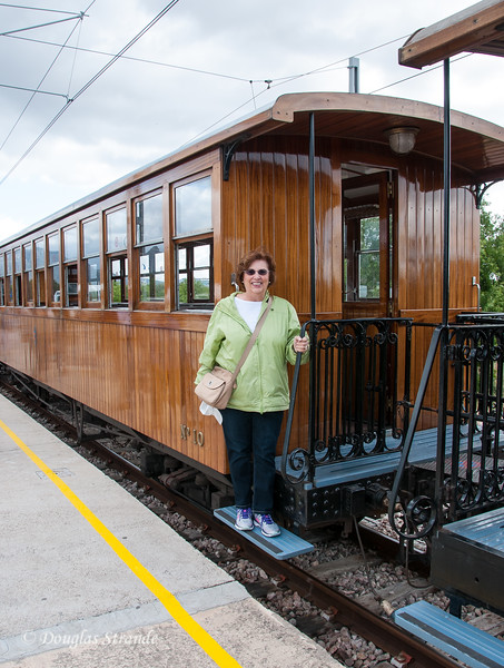 Louise boarding the wooden train en route to Soller, Mallorca