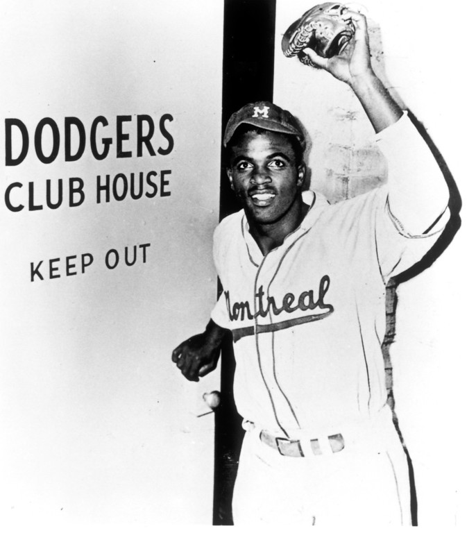 . Jackie Robinson entering the Dodgers Club House in his minor league uniform.  (Los Angeles Daily News file photo)