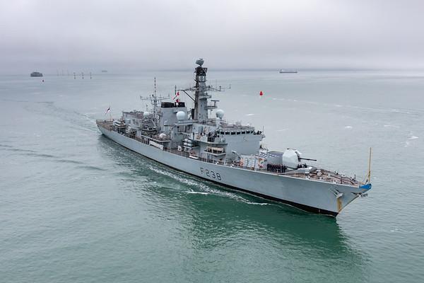 HMS Northumberland arrives HMNB Portsmouth