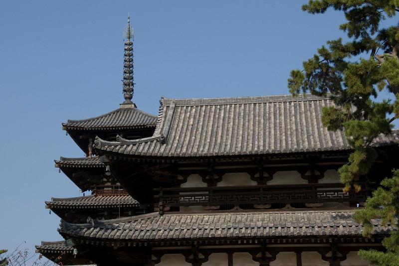 Detailed shot of Horyuji Temple Rooftops in Horyuji, Japan