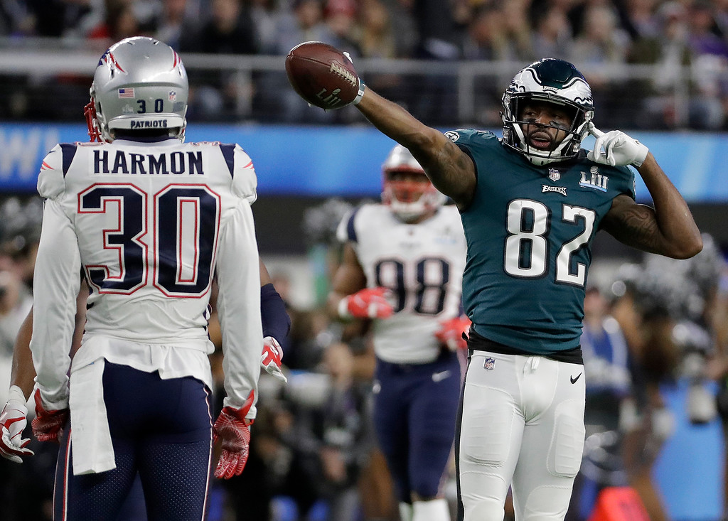 . Philadelphia Eagles\' Torrey Smith reacts to his first down catch during the first half of the NFL Super Bowl 52 football game against the New England Patriots Sunday, Feb. 4, 2018, in Minneapolis. (AP Photo/Mark Humphrey)