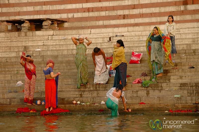 Morning Bathing and Puja (Prayers) Along the Ganges - Varanasi, India