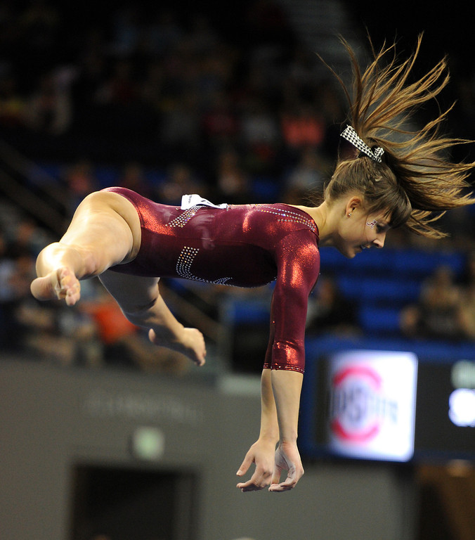. Alabama\'s Kim Jacob competes in the floor exercise Friday, April 19, 2013, at the NCAA Women\'s Gymnastics Championships at Pauley Pavilion. (Michael Owen Baker/Staff Photographer)