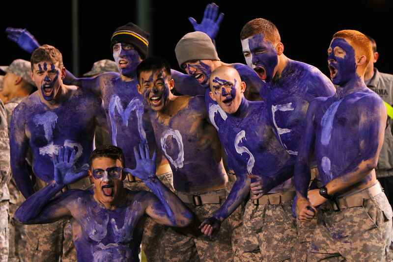 Cadets from I2 cheer on their soccer team in their 1-0 victory over F3 in the Brigade Championship on 17 November, 2011.
