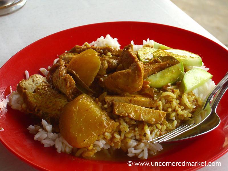 Malaysian Food, Chicken and Tofu Curry - Melaka, Malaysia