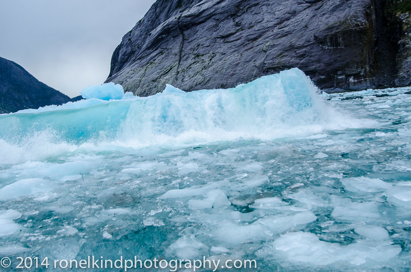 the  ice berg, split in half...