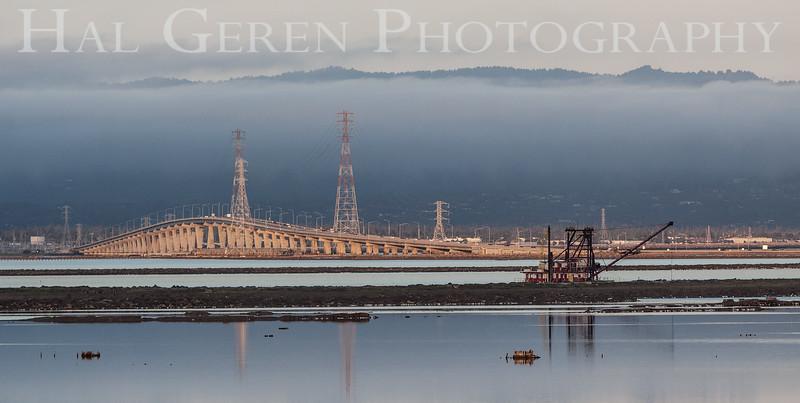 Dumbarton Bridge and Dredger Don Edwards National Wildlife Refuge, Fremont, California 1407R-DAB2