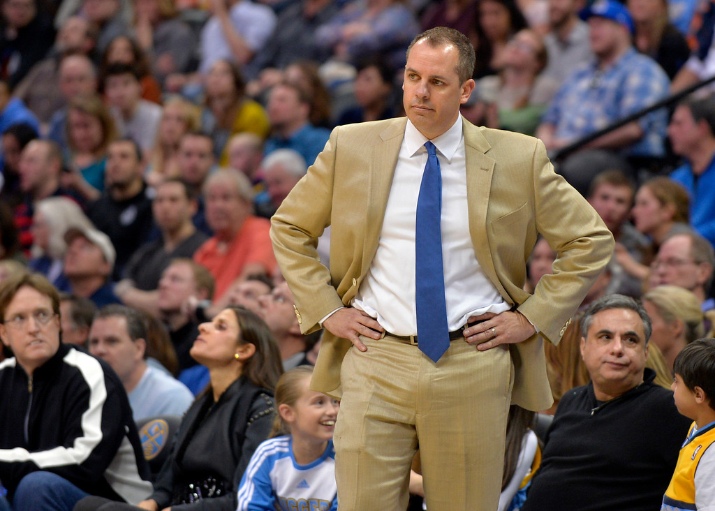 . Indiana Pacers coach Frank Vogel reacts during the fourth quarter of the Pacers\' NBA basketball game against the Denver Nuggets on Saturday, Jan. 25, 2014, in Denver. Denver defeated Indiana 109-96. (AP Photo/Jack Dempsey)