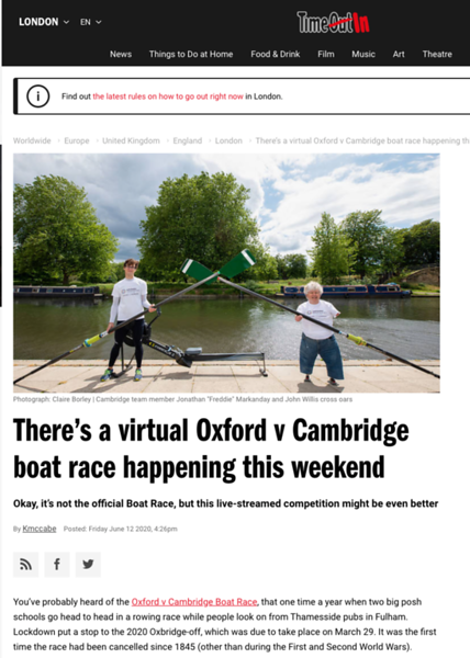 Virtual Oxford v Cambridge Boat Race, Time Out