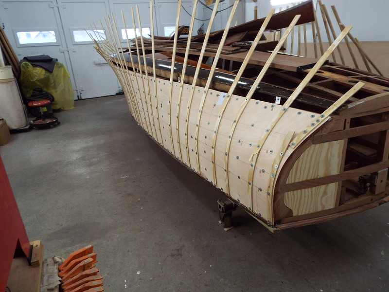 Rear port view of the plywood installed.