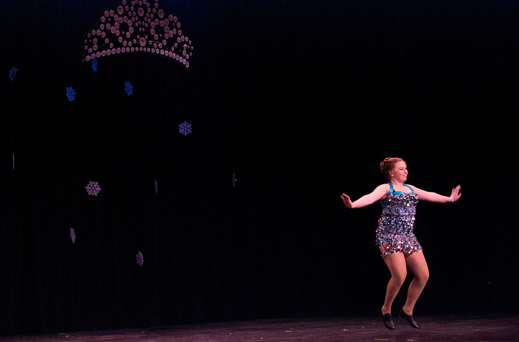 . Kayla Rice/Reformer Katie Burroughs dances for the talent portion of the 2014 Brattleboro Winter Carnival\'s Queen\'s Pageant on Friday night.