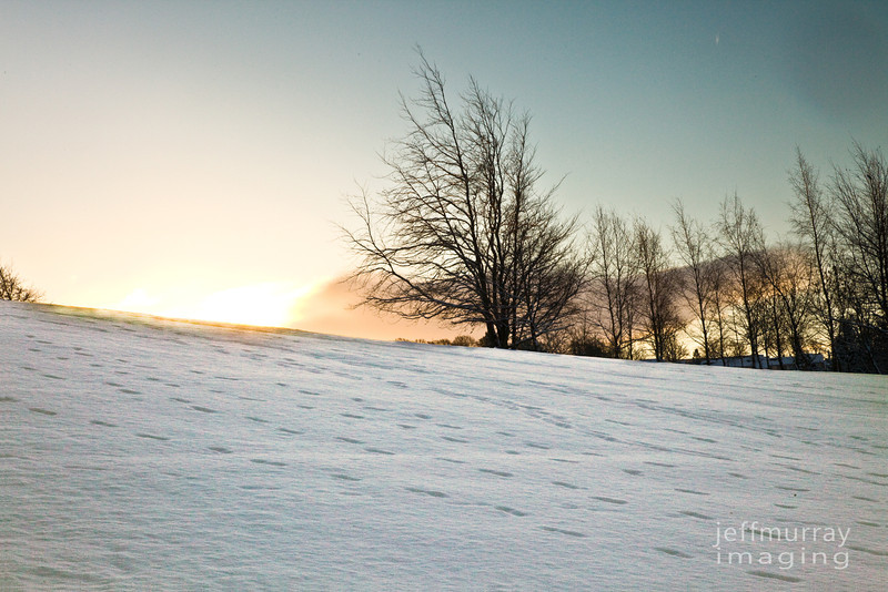 Cathcart Castle under snow.