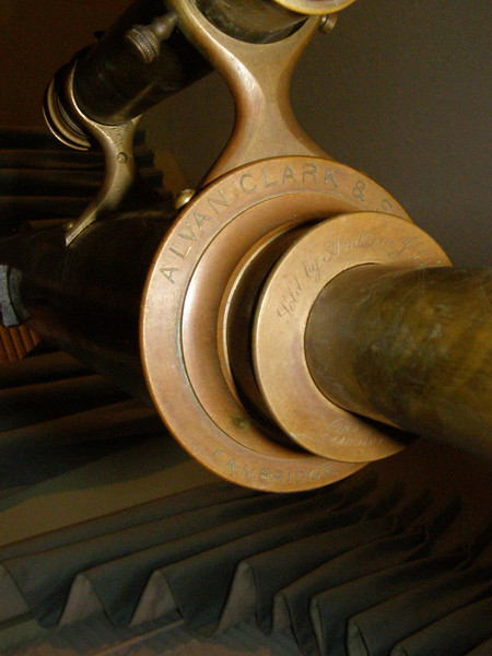 """In this picture taken by Nick you can clearly see the instrument is unusal. The inscription reads Alvan Clark & Sons and on the extension housing """"Sold by Andrew J Lloyd and Company""""."""