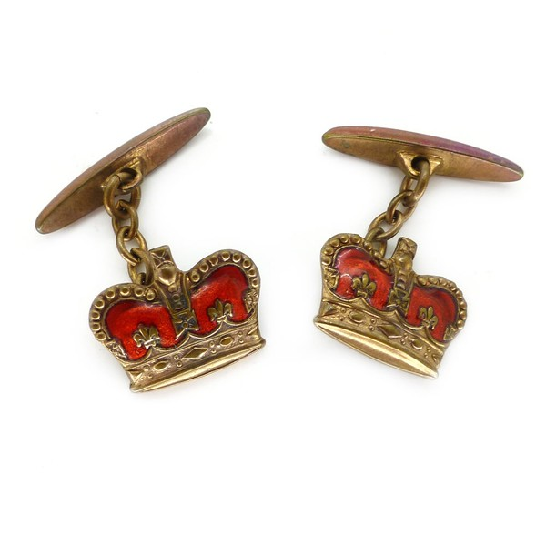 VINTAGE RED ENAMEL CROWN CORONATION CUFFLINKS