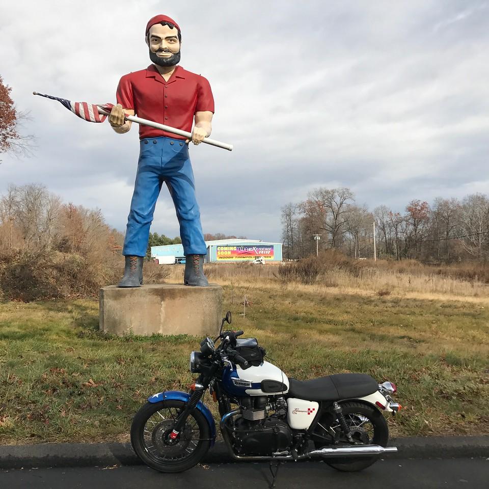 cheshire connecticut house of doors bunyan muffler man - triumph bonneville motorcycle
