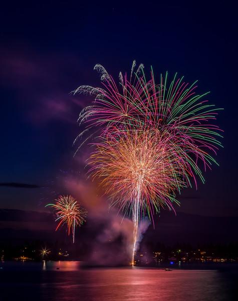 Fourth of July Fireworks over Liberty Lake, Washington