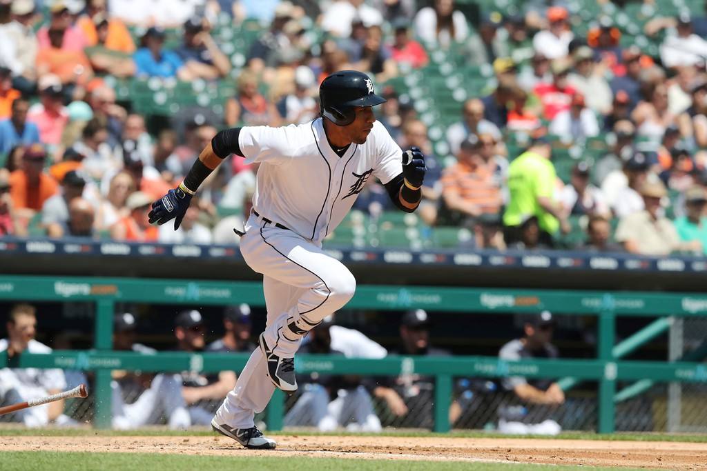 . Detroit Tigers\' Victor Reyes runs to first during the fifth inning of a baseball game against the Cleveland Indians, Wednesday, May 16, 2018, in Detroit. (AP Photo/Carlos Osorio)