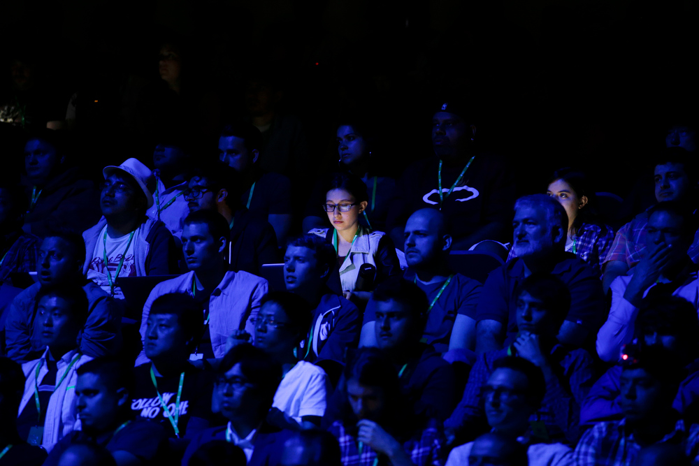. Attendees watch a presentation at the Microsoft Xbox E3 media briefing in Los Angeles, Monday, June 10, 2013. Microsoft focused on how cloud computing will make games for its next-generation Xbox One console more immersive during its Monday presentation at the Electronic Entertainment Expo. Microsoft announced last week that the console must be connected to the Internet every 24 hours to operate, and the system would ideally always be online. (AP Photo/Jae C. Hong)