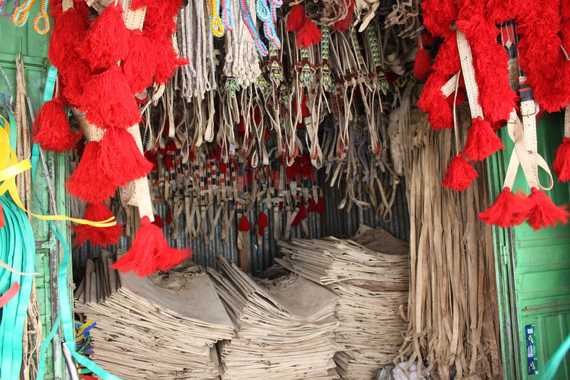 Addis Ababa Mercato booth selling horse and donkey bridles