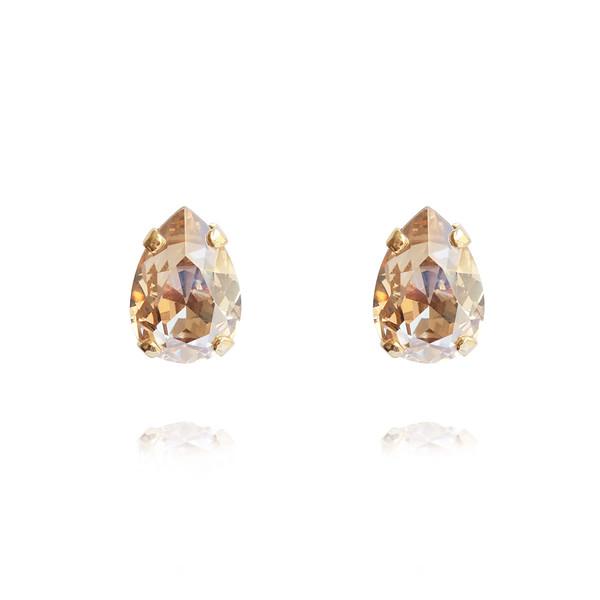 Petite Drop Stud Earrings / Golden Shadow Gold