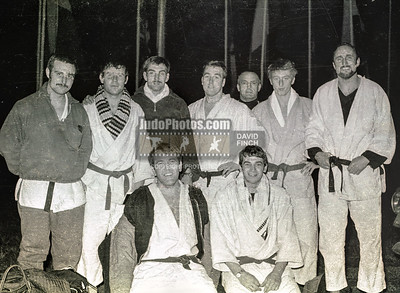 LONDON, ENGLAND - 24 MARCH: The LJS team at the German Open included L-R are Barry Carey (4), John Sirkett (1), Geoff Philips (9), Dave Hepper (3)  and Pat Wynne (2) during the London Judo Society's team trip to Germany to take part in the German Open in March 1968. (© Copyright 2014 David Finch. All Rights Reserved)