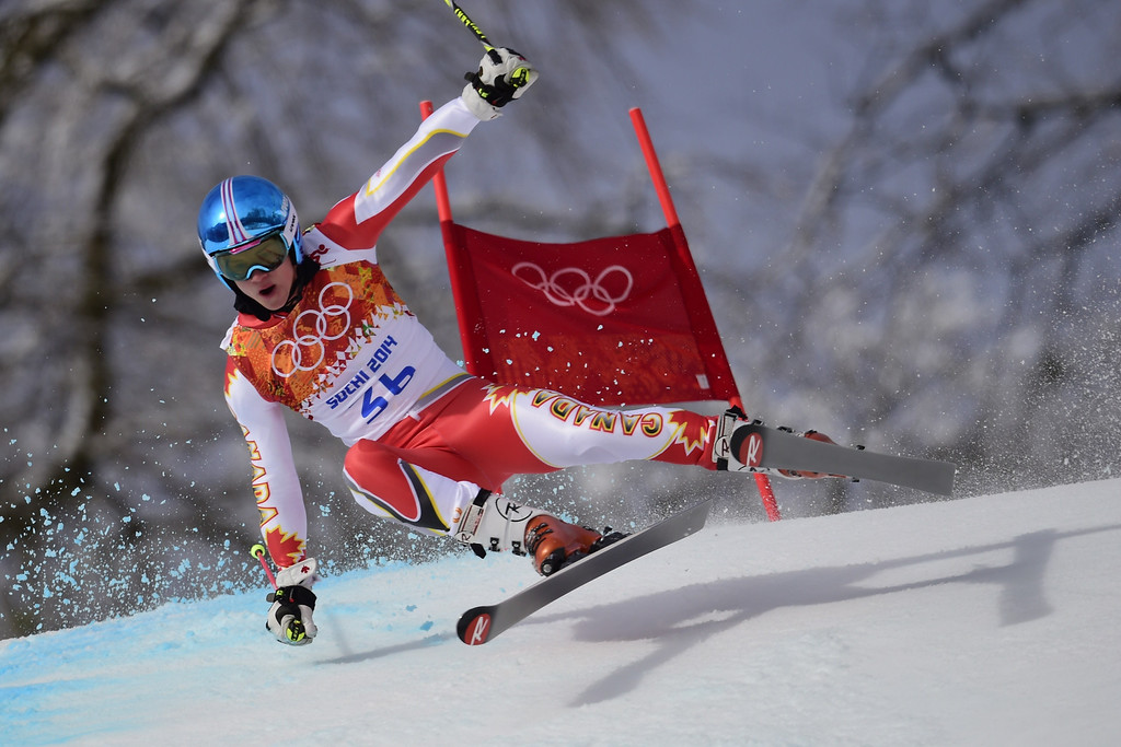. Canada\'s Trevor Philip competes during the Men\'s Alpine Skiing Giant Slalom Run 1 at the Rosa Khutor Alpine Center during the Sochi Winter Olympics on February 19, 2014.       AFP PHOTO / OLIVIER  MORIN/AFP/Getty Images