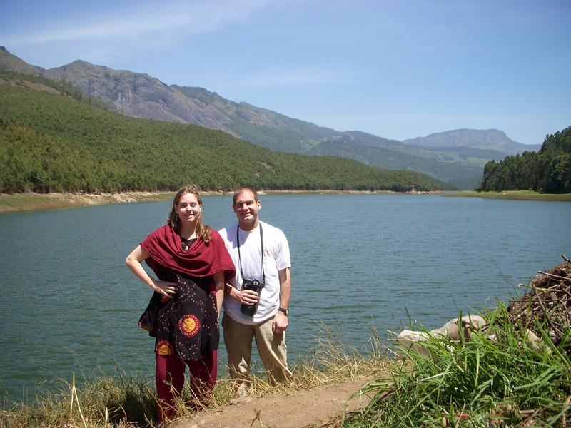 Cheryl and Jon on a lake near Munnar