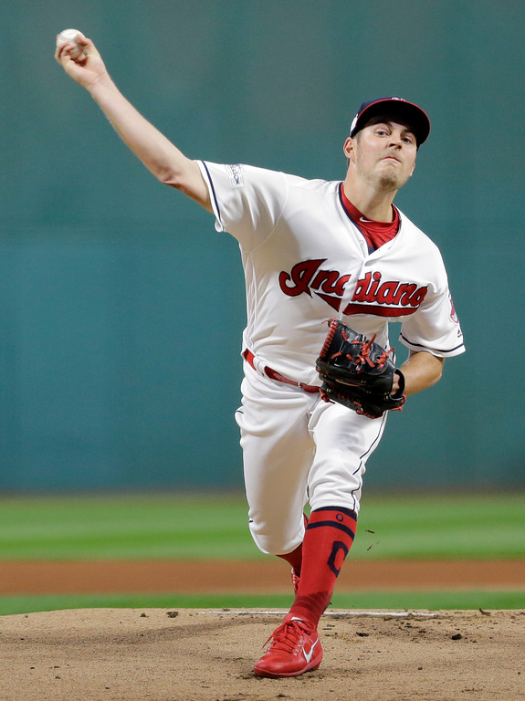 . Cleveland Indians starting pitcher Trevor Bauer delivers in the first inning of Game 1 of a baseball American League Division Series against the New York Yankees, Thursday, Oct. 5, 2017, in Cleveland. (AP Photo/Tony Dejak)
