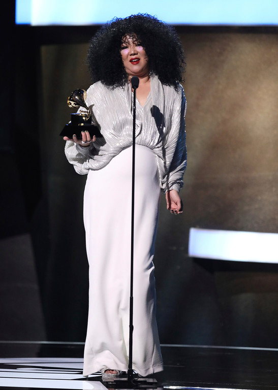 . Host Margaret Cho speaks at the 59th annual Grammy Awards on Sunday, Feb. 12, 2017, in Los Angeles. (Photo by Matt Sayles/Invision/AP)