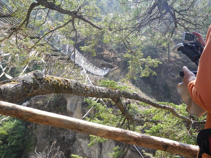 Suspension bridge below Namche Bazar.
