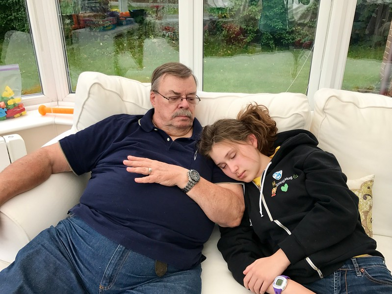 She was SO tired.  Uncle Jim makes a good pillow