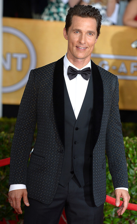 . Matthew McConaughey arrives at the 20th Annual Screen Actors Guild Awards  at the Shrine Auditorium in Los Angeles, California on Saturday January 18, 2014 (Photo by Michael Owen Baker / Los Angeles Daily News)