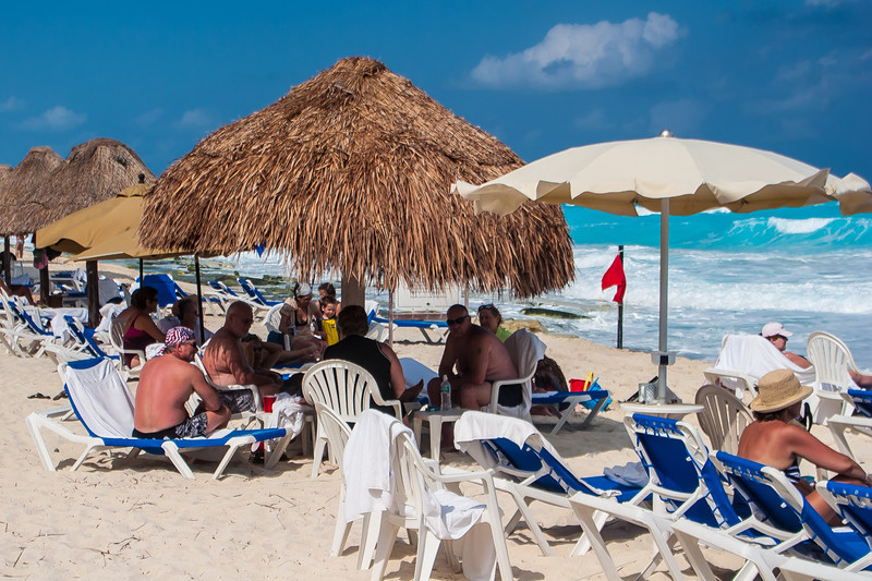 One can spend a day under one of the many palapas along the beach. Happy hour in the after noon is economical and is blessed with plenty of waiters.